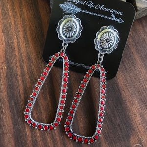 Silver & Red Cutout Concho Earrings